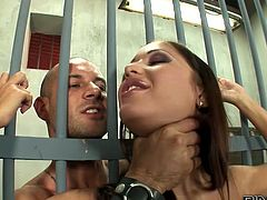 Brutal jailer gets wild with hot curvy prisoner Angelica Heart. Well stacked babe in fishnets gets her meaty cunt and tasty asshole eaten.