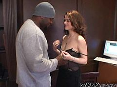 Violet's car has broken down. So, she goes to some house and asks a guy to call the technical service. Of course it ends with a wild sex. Classic porn scenario. Violet sucks a big black cock and gets her pussy torn up.