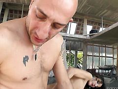 Alice Romain loses control after Omar Galanti puts his erect meat pole in her mouth after anal fun