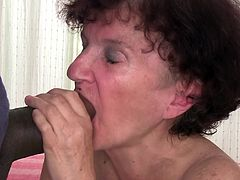Be part of this clip where a brunette granny, with small boobs and a hairy pussy, goes hardcore with a big black cock and moans like dirty grandma.