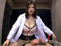 Take a look at this busty doctor end up covered by warm semen in this hot POV where she plays with a patient's hard cock.