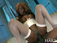 Harmony Vision brings you a hell of a free porn video where you can see how the nasty ebony slut Jasmine Webb rides a hard black cock into a massively intense orgasm.