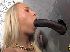 A sexy blonde girl takes off her clothes in a toilet cabin. She strokes and sucks the biggest dick she has ever seen. Of course Carla also gets her pussy fucked through a hole in a wall.