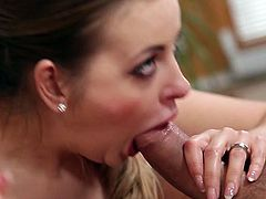 Seductive brunette babe with juicy jugs examines her pinkish pussy with fingers. She rolls her eyes with pleasure and moans. Then she gives deepthroat blowjob to a duo of horny guys.
