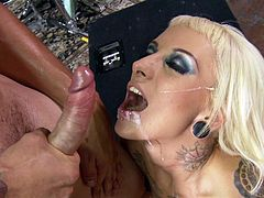 After strong and nasty hardcore sex, golden slut with perfect boobs enjoys creamy jizz over her face