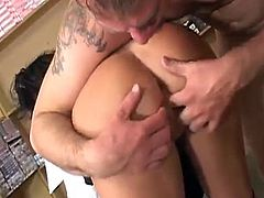 A slutty brunette in an office suit blows a dick sitting on her knees and gets fingered in close up scenes. Then Kendra gets butt fucked in different poses.