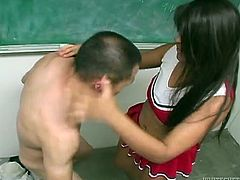 Submissive coed gets his balls busted by curvy Latina college hoe