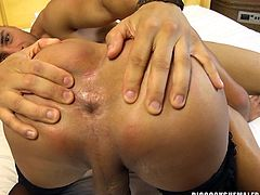 He loves sucking off this shemale slut, and she loves sucking on his cock, too. Both their dicks and so rock hard and wet. He bends over so she can lick his butthole and fuck his tight little ass hard from behind.