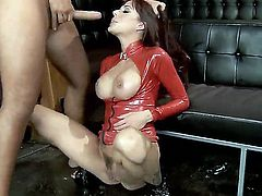Adorable Gia DiMarco with huge perfectly shaped hooters and colorful back tattoo in red latex outfit gets fingered and pounded hard to squirting orgasm by Keiran Lee in the club.