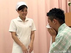 A Sexy, Young Asian Nurse Playing With Her Patients' Big Cock