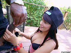 Ava Dalush gives massive black dick a try outside