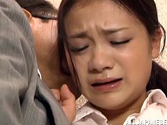 A lovely Japanese girl gets her boobs fondled and pussy licked by older guy on the stairs. Then Kana drops to her knees and starts to suck a dick. She also gets a mouthful and swallows everything.
