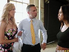 Abbey Lee Brazil and Brandi Love are having fun with Keiran Lee in a basement. They suck his prick remarcably well and then jump on it by turns.