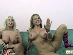 Britney Amber and Nikki Sexxx are two of the horniest girls you'll ever see. Horny nymphos having an awesome time together sucking their friend's cock.