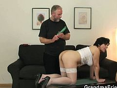This grandma taking opportunity of granting her wishes by her friend. A threesome fuck with him and another young guy. To add the excitement they blindfolded her for extra hotness.
