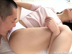 Awesome Japanese in a sexy thong moans as he licks her pussy then gives a blowjob before he slides his massive cock in her pussy and fucks her
