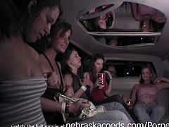 Nebraska Coeds brings you a hell of a free porn video where you can see how these party sluts go lesbo inside a limo and play rough while assuming very hot poses.