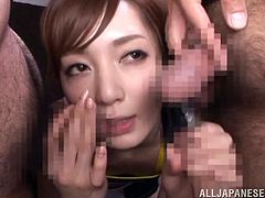 Gorgeous Asian Pornstar Kaede Fuyutsuk gets gangbanged by three guys and ends up getting a massive bukkake all over her face and hair.