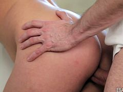Incredibly exciting and passionate erotic video is presented by Babes studio. Handsome dude feels up tempting body before he gets stout blowjob in the kitchen.