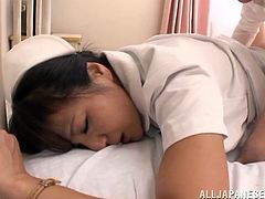 Chihiro Uehara is a lovely Asian nurse. She loves to have sex at work because it helps to relieve the stress. A doctor licks Chihiro's pussy and fucks the girl. He also cums in her mouth.