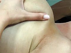 Dana Weyron with gigantic jugs and clean twat fingering her muff pie