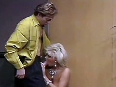 Curvaceous MILF looks stunning in romantic dress. Horny guy feels up her sexy body while stripping. She kneels down taking hard cock in her mouth.