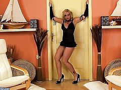 Blonde Kathia Nobili getting frisky on camera