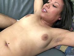 Horny and hot dark haired bitch with nice body gets her shaved cunt fucked missionary on the sofa. Have a look at this slut in Fame Digital sex video.
