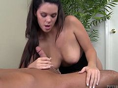 Delightful black haired babe with natural tits can't take her mouth of her mate's big shaved dick. She gives messy deepthroat blowjob and swallows every drop of cum.
