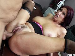 Dark-haired mom Tiffany Mynx gives a deepthroat blowjob to Ramon and titfucks his prick. Then they have anal sex and the guy fills Tiffany's butt with jizz.