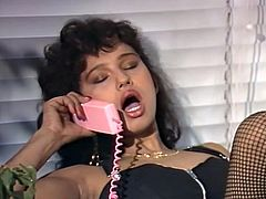 Curly and dark haired filthy chick in sexy stockings got her hot blooded kitty invaded from behind by massive penis of that freak.Look at that dirty fuck in The Classic Porn sex clip!