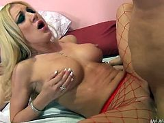 Light haired seductive chick in glasses and her busty torrid kooky in red fishnets please that feverish stud with nice BJ. Look at that steamy FFM fuck in My XXX Pass sex clip!