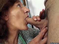 Granny Bet brings you a hell of a free porn video where you can see how this kinky mature brunette sucks a young cock and gets fucked deep and hard into heaven.