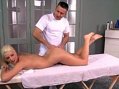 Blonde Blanche Bradburry gets sexy lotion massage
