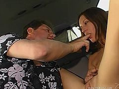 Take a look at this hardcore scene where the sexy Taylor Rain sucks on a big cock in the backseat of a car before being fucked silly him.