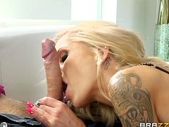 Captivating blonde porn star Nina Elle, wearing stockings and high heels, is having a great time with Keiran Lee indoors. They have nice oral sex and fuck in the cowgirl and other positions.