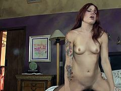 Slutty red haired bitch with nice ass gets her dripping pussy fucked hard riding the cock in cowgirl pose and sucks the dick. Have a look at this chick in Fame Digital sex video.