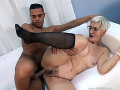 Kata is a lustful granny. She loves sex very much despite her age. She gives a blowjob to some handsome dude and then gets fucked in her hairy pussy.