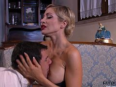 This charming blondie in sexy black stockings wants her lover's tongue in her pussy. She spreads her legs wide indicating how bad she wants her lover to worship her pussy. Horny dude can't resist her. He licks her sweet cherry like a seasoned pussy eater.
