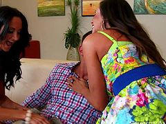 Ariella Ferrera is his friends gorgeous mom and Ava Addams is her best friend. These stunning raven haired milfs with amazing bodies team up and share his stiff cock on the couch.