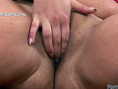 Chubby skank rubs her sweet pussy and sucks her black sex toy