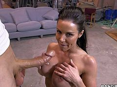 Dark haired MILF beauty Kendra Lust with amazing huge firm tits is completely naked in front of a lucky guy and ready to get it started. She sucks his dick on her knees before he drills her neatly trimmed pussy.