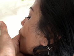 Today we're pleased and fortunate to present Galilea, a Colombian girl blessed with a pair of awesome melons and one of those asses which get you dizzy.Watch her sucking that big cock and getting her hot pussy fucked from behind.