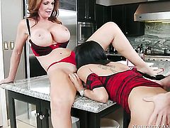 Gulliana Alexis with big melons and shaved muff gets doggystyled by hard cocked guy Johnny Castle