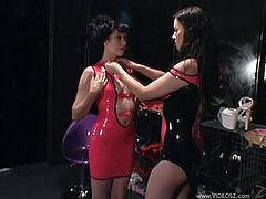 Lewd lesbians Anastasia Pierce and Smoking Mary Jane wearing latex dresses are having fun in a basement. They strip and show their bodies to each other and then play with dildos.