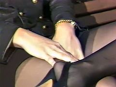 Curly and dark haired cougar in black leather look jacket rested on bench at sidewalk and pleased her fuck dying pussy with fingers..Look at that dirty solo in The Classic Porn sex clip!