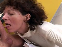Horny mature woman kneels down to give unforgettable blowjob to one young dude. She demonstrates deepthroat talent and hops on meaty pole like sex insane.