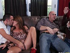 Kianna Dior, Shay Sights, Johnny Sins and Keiran Lee are ready for dirty group sex scene. Babes give blowjob and dudes dive in their pussies.