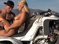 Have you ever noticed that blonde sluts always get what they want? This hot long-haired bitch loves speed and cocks. Nothing compares to having sex outdoor. The horny couple stopped not only to admire the view, but to play dirty. The guy enjoys a marvelous blowjob after having licked a peachy shaved pussy.
