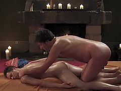 Check out these horny dudes having some kinky fun together and showing some amazing massage techniques. Watch as one gets his tight asshole ready to penetrated.